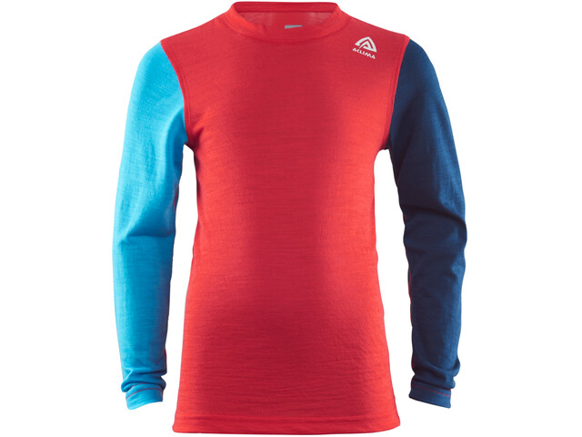 Aclima LightWool T-shirt Manches longues Col ras-du-cou Enfant, high risk red/ blithe/insignia blue